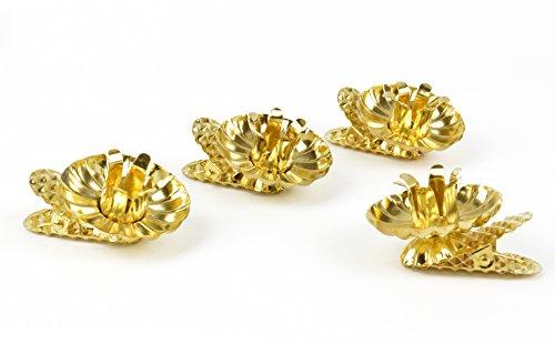 Helmecke & Hoffmann * 4er Set Baumkerzenhalter Kerzenhalter für den Weihnachtsbaum | Gold oder Silber (Gold)