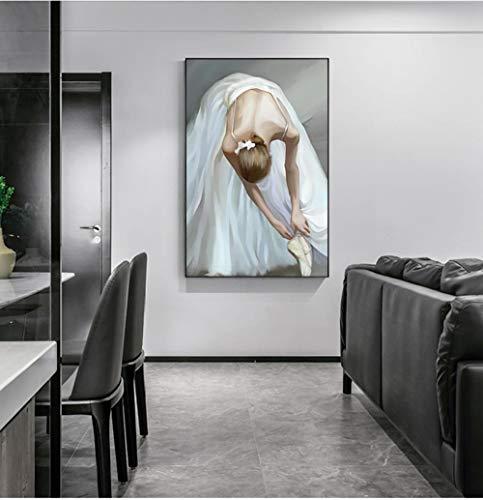 RuYun abstracte witte balletjurk meisjes poster print moderne zwarte strakke rok muurschildering voor woonkamer Scandinavische mooie vrouwen schilderen geen lijst A_50x75cm