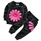 Toddler Baby Girls Sunflower Clothes Set Long Sleeve Top and Pants 2pcs Outfits Fall Clothes (Black,Age 4T)