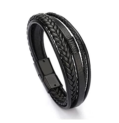 MENGHUA Joyería de moda cuerda de cuero pulsera tejida a mano pulsera de los hombres estilo étnico joyería negro