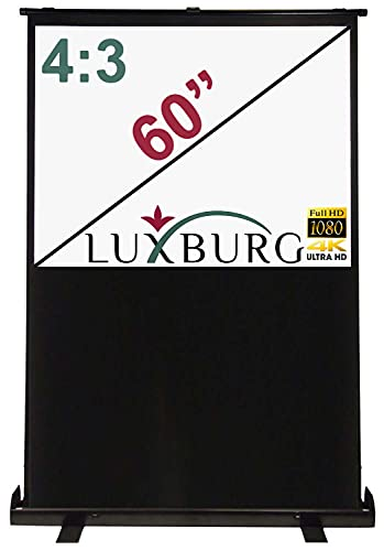"Beamerleinwand Luxburg 60\"" Full HD 3D Projektor-Leinwand Manuell tragbar mit Fußkreuz – Display Weiß Blickdicht (120 x 90 cm 48\"" x 36) mit Schutzhülle."