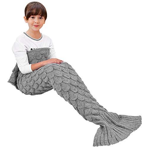 eCrazyBaby Hecho a Mano de Punto Manta de Cola de Sirena, Todas Las Estaciones cálido sofá Cama Sala de Estar Manta para niños, Patrón de Fish-Escalas, 140 x 70 cm, Gris