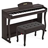 LAGRIMA LAG-650 88 Key Weighted Hammer Action Digital Piano w/Bluetooth & MP3 Function, Remote Control, MIDI/Headphone/Audio Output Feature, Suit for Kids, Adult, Beginner, Brown (with bench)