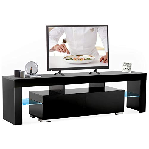 Mecor Modern Black TV Stand, 12 Colors LED TV Stand w/Remote Control Lights,High Gloss TV Cabinet w/Storage&2 Drawers,65 Inch Entertainment Center for Living Room