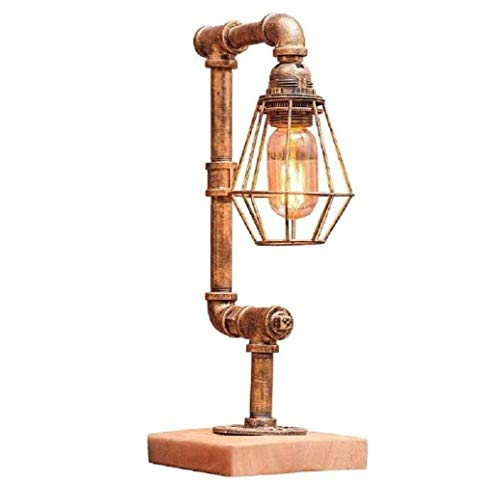 Schemerlamp nachtkastje lampen Retro Iron Waterpijp tafellamp Steampunk Rustieke Lijst Lamp, Water Pipe bureaulampen, Koper, A Simple romantische traditionele klassieke Home/Office/Dorm ZHNGHENG