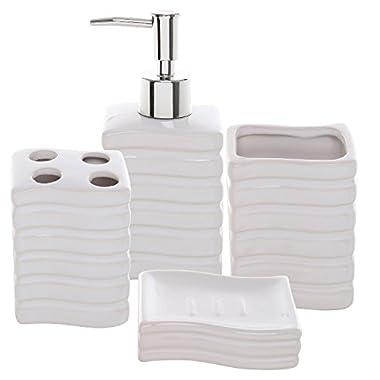4 Pc Ribbed White Ceramic Bath Accessory Set / Toothbrush Holder, Tumbler, Lotion Dispenser & Soap Dish