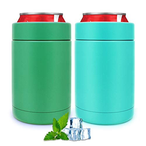 2 Pack of Can Cooler, Slim Double-walled Stainless Steel Insulated Thermocoolers for 12 Oz Slim...