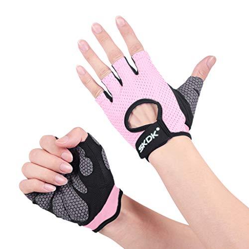 QIMANZI Fitness Handschuhe Damen Herren Atmungsaktive Trainingshandschuhe für Gym Krafttraining Crossfit Bodybuilding Gewichtheben Workout Reiten(Rosa,M)