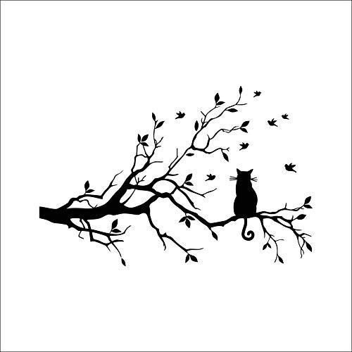 Qwerlp - Adhesivo de vinilo para pared, diseño de gato negro en una rama, árbol, pájaros, decoración de habitación de los niños