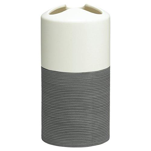 Sealskin Zahnbürstenhalter Doppio, Zahnputzbecher aus natürlichem Porzellan, Farbe: Grau, handbemalt