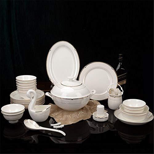 AILEYOU Vajilla De Cocina menaje Servicio Combinado Juegos De 60 Piezas Conjuntos Combinados cuberteria vajilla De Comedor Porcelana Plato Plato bochas