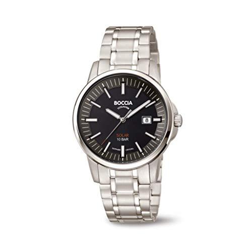 Boccia Herren Analog Quarz Uhr mit Titan Armband 3643-04