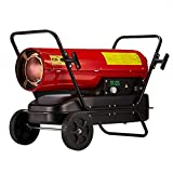 Heater Portable Industrial Garage Workshop Space Warmer, Kerosene/Diesel Air, Thermostat Adjustable Modes Overheat Protection(Red/20KW)