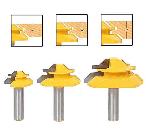 APlus 3tlg. 1/2 Inch 12,7mm Verleimfräser Gehrung Verleimfräser Oberfräse 45 Grad Lock Miter Router Bit Holzbearbeitung Fräser Schneidwerkzeug für Graviermaschine Trimmmaschine