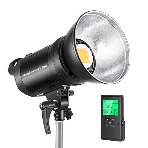 Neewer EX-60W LED Luz de Video Regulable 5600K 60W CRI95 RLCI90 5000Lux/m Monte Bowens Iluminación Continua LED con Control Remoto Inalámbrico 2,4G y Reflector para Grabación de Vídeo etc