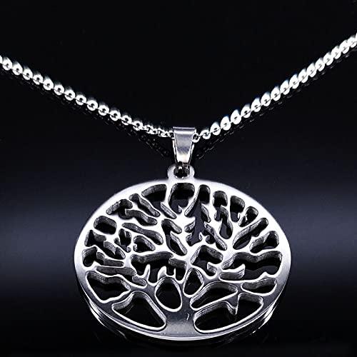 YUANBOO Nuevo árbol de la Vida Collar de Acero Inoxidable para Las Mujeres Color Plateado Maxi Collar Mujer Joyería y Accesorios (Metal Color : G SR 50cm O)