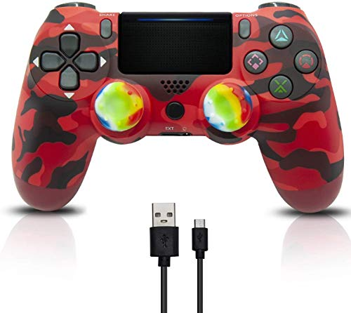 Wireless Controller für PS4, Game Controller Joystick für PlayStation 4 mit USB-Kabel, Rot Camouflage