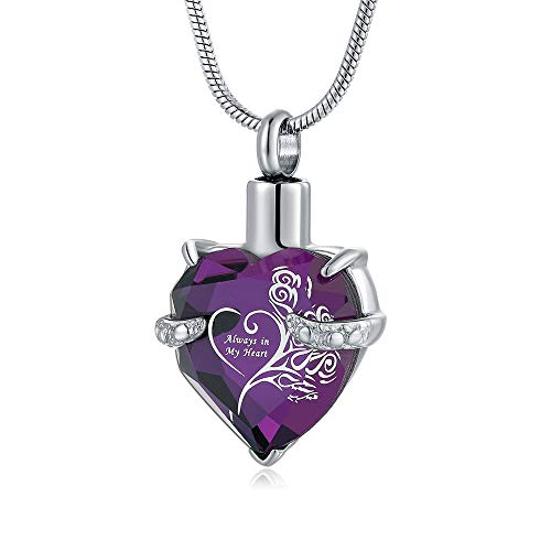Purple Always In My Heart Urn Necklaces for Ashes Cremation Jewelry for Ashes Necklace Mom Grandma Daughter Wife Women Gift '