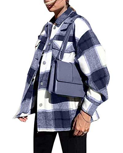 Minetom Damen Oversized Karo Hemd Hemdjacke Kariert Holzfällerhemd Langarmhend mit Brusttaschen Hemdbluse Bluse Shirt A Blau Small