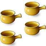 4 ciotole da zuppa in ceramica con manico da 567 ml, per cipolla francese, freddo, insalata, stufato di manzo, tagliatelle, frutta (giallo).