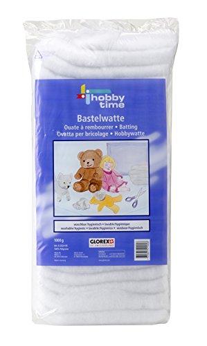 Glorex 6 2524 05 - Bastelwatte, 1 kg weiß, 100 % Polyester, waschbar und hygienisch, flauschiges Füllmaterial für große Füllungen wie Kissen