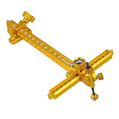 SHARROW Bogenschießen Recurve Bogenvisier Aluminium 9 Zoll Bogen Visier Anblick Bow Sight Schnelleinstellung des Visiers für Recurve Bögen (Gold)
