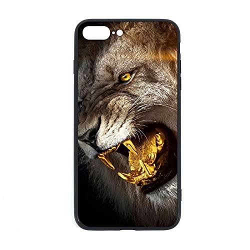 Carcasa para iPhone 7P/8P, diseño de león y rey de oro con parte trasera de cristal templado + silicona TPU de cristal para iPhone 7 Plus iPhone 8 Plus
