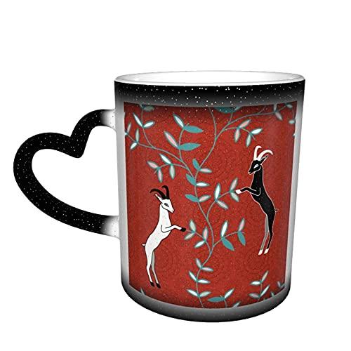 maichengxuan Taza de café unisex de viaje de cabras personalizada sensible al calor color cambiante taza de té de leche tazas de café mágicas