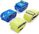 POOPHUNS Cinghie per valigie, Luminosi Cinturini Regolabili per Bagaglio Regolabili Durevoli, Accessori Essenziali per La Sicurezza dei Cinturini Da Viaggio con Tag bagagli, 4 pezzi (Blu + Verde)