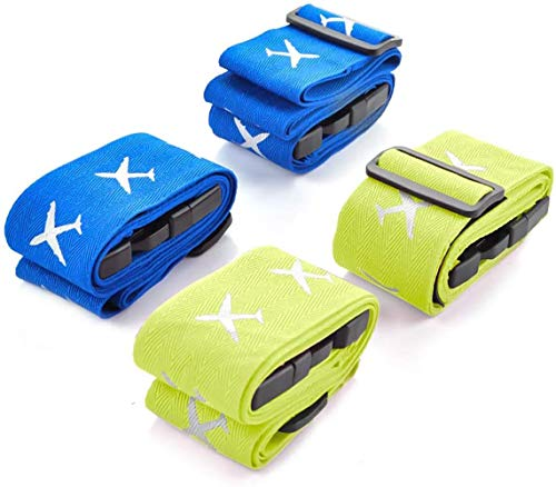 Luggage Straps for Suitcases, POOPHUNS Heavy Duty Luggage Straps, Adjustable Packing Belts with Buckle for Travel 4-Pack(Blue&Green)