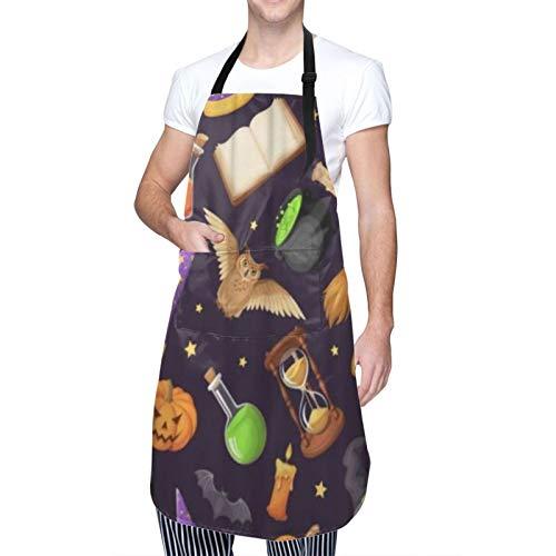 COFEIYISI Delantal de Cocina Símbolos mágicos Libros Calderos Reloj de arena Búhos Linternas Delantal Chefs Cocina para Cocinar/Hornear