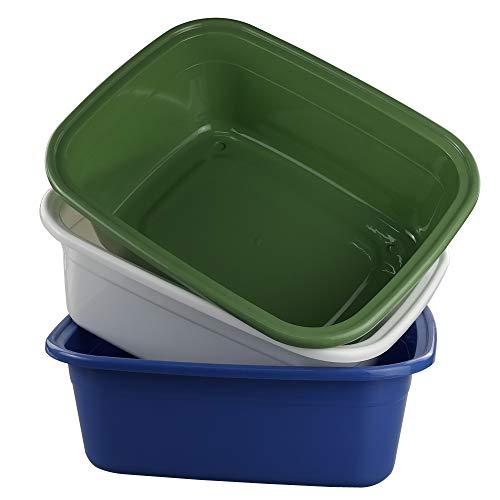 Annkky 3-Pack Rechteckige Kunststoff Spülschüssel, Waschschüssel, Spülwanne Groß