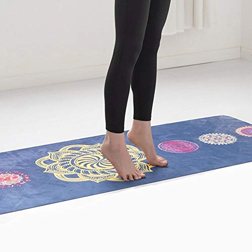 Opvouwbare machine wasbare lichtgewicht draagbare yogamat zweetabsorberende antislip suède natuurrubber bedrukte yogamat handdoek