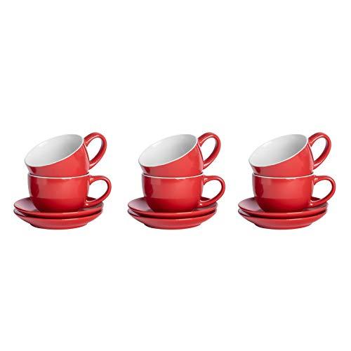 Argon Tableware 12 Stück Farbige Cappuccino Tasse und Untertasse Set - Modern Style Porzellan-Tee-und Kaffeetasse - Rot - 250ml