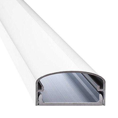 """Design Alu Kabelkanal \""""BIG MOUTH\"""" für TV , Beamer etc. - weiß glänzend (Klavierlackoptik) - Länge 50cm - Platz für viele Kabel - 50 x 5 x 2,6 cm - komplett aus Aluminium"""
