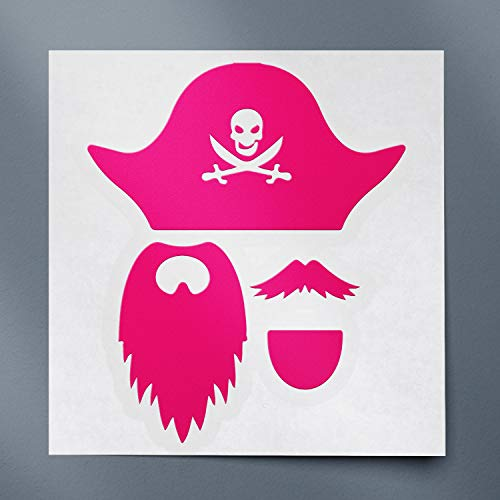 USC DECALS Pirate Photobooth Props Silhouette (Pink) (Set of 2) Premium Waterproof Vinyl Decal Stickers for Laptop Phone Accessory Helmet Car Window Bumper Mug Tuber Cup Door Wall Decoration