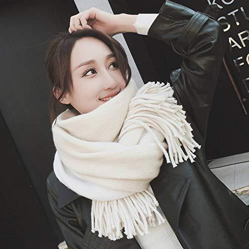 GO&FL Krawattenschal mit Quaste, für Damen, Herbst und Winter, dick, doppelseitig, vielseitig gestreift, zweiseitig verwendbar, warme Farbe, passender Schal, cremefarben, 200 x 55 cm