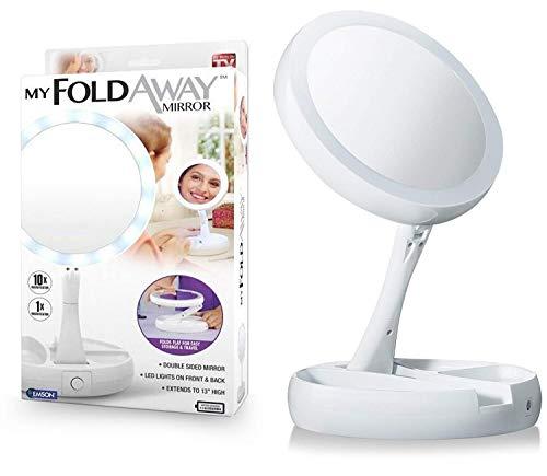 Espelho Emson My Foldaway The Lighted, espelho de dupla face com ampliação de 10 x – como visto na TV!, branco