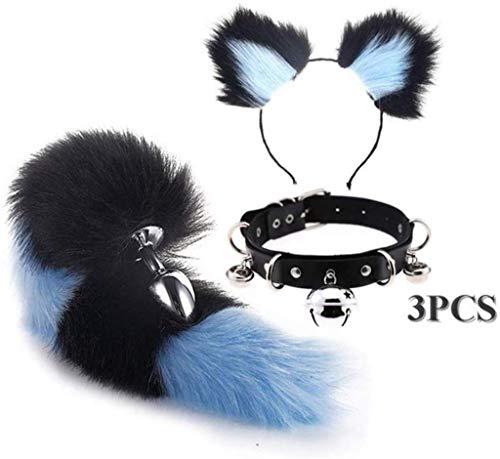 Jjek Cos Bell-Halsband - (Black & Blue) Fluffy B-Ütt P-l-ǔ-g Fuchsschwanz Plüsch und Katze-Ohr-Anime-Set for Frauen Glamour Female Masquerade Props 3pcs (Size : S)