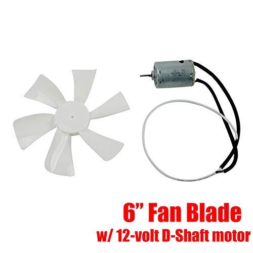 BLACKHORSE-RACING White 6 inch RV Fan 12V D - Shaft Replacement Camper Fan Blade Bathroom Fan Home Bathroom Mobile Home RV Motor