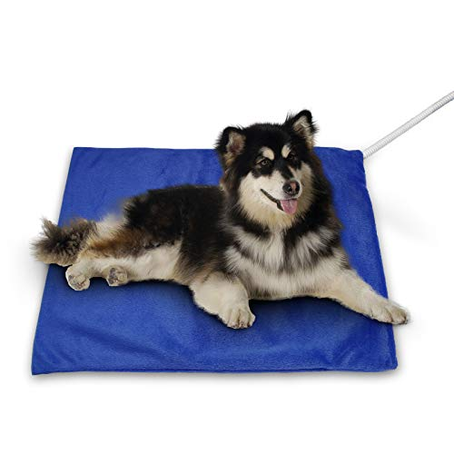 NAMOTEK Pet Heating Pad,MET Safety Certified Electric Heated Mat for Dogs and Cats Auto Constant Temperature Indoor Warming Pad with Steel-Wrapped Cord and Soft Cover