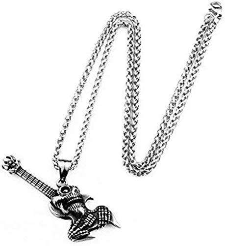 NONGYEYH co.,ltd Colgante de Guitarra Punk Rock, Collar de Moda para Hombre, Colgante de Pareja, Cadena de suéter de Acero de Titanio
