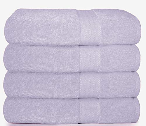 Glamburg Premium Cotton 4 Pack Bath Towel Set - 100% Pure Cotton - 4 Bath Towels 27x54 - Ideal for Everyday use - Ultra Soft & Highly Absorbent - Purple