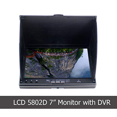 FPV Monitor with DVR LCD5802D 5.8G 40Channels 7Inch LCD Monitor/Display Screen Receiver Monitor for FPV Drone Quadcopter with Wireless Receiver