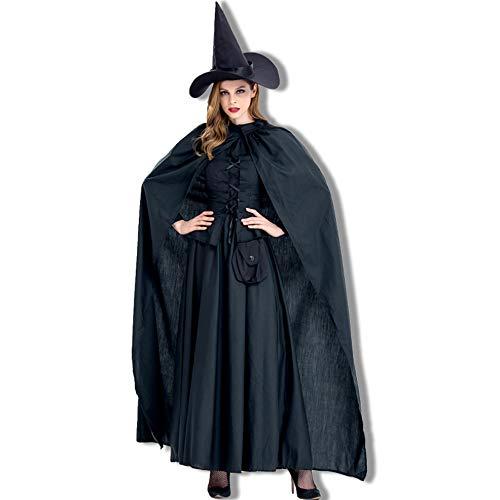 ZSTY Halloween Heks kostuum, Halloween met een mantel heks COS Stage kostuum puur zwart heks spel pak