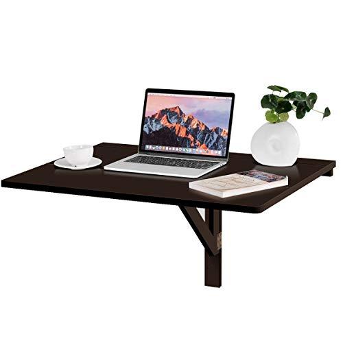COSTWAY Wandtisch klappbar, Wandklapptisch weiß, 80x60cm, Klapptisch aus Holz (Braun)