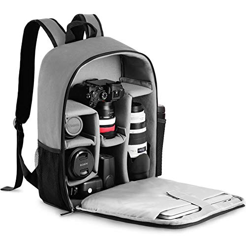 """CADeN Camera Backpack Bag with Laptop Compartment 15.6"""" for DSLR/SLR Mirrorless Camera Waterproof, Camera Case Compatible for Sony Canon Nikon Camera and Lens Tripod Accessories Grey"""