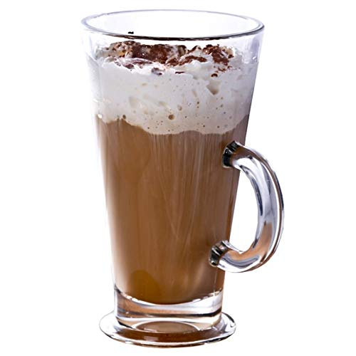 ZPEE Vasos de Vidrio Modernos 2 Piezas de Cristal de café, Tazas de Cristal claras con Asas for Bebidas, Cappuccino, Latte, Big Taza de té.Crystal Clear Tazas de Cristal Juego de Vasos de Vidrio