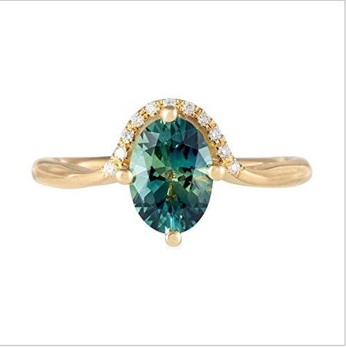 Hongcaihu Women's 18K Gold Engagement Ring Simple and Fashionable Green Zircon Ring Women Square Zircon Green Diamond Luxury Anniversary Engagement Ring Jewelry Gifts for Women (6#)