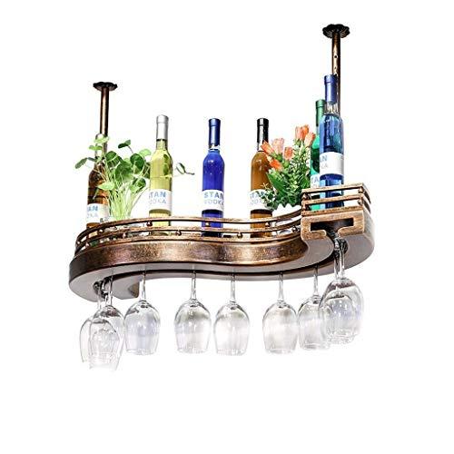 Casier à vin Américain Rétro Industriel Suspendu Bois S Forme Porte-Verres à vin Creative Home Bar à l'envers Porte-gobelet Gobelet Casiers à vin Étagère Champagne Vin (Couleur: Bois Taille